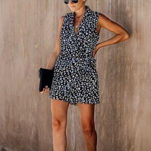 VICI leopard sleeveless wrap romper